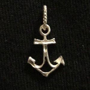 Anchor Diamond Cut Sterling Silver Pendant/ Charm